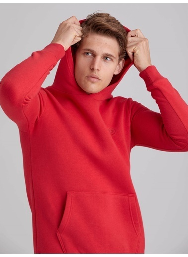 Dufy Düz Kapüşonlu Erkek Sweatshirt - Regular Fit Kırmızı